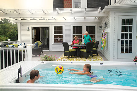 Family in a swim spa
