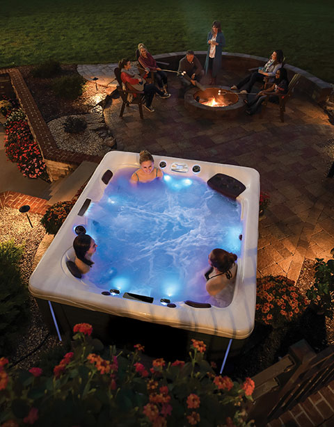 backyard patio hot tub
