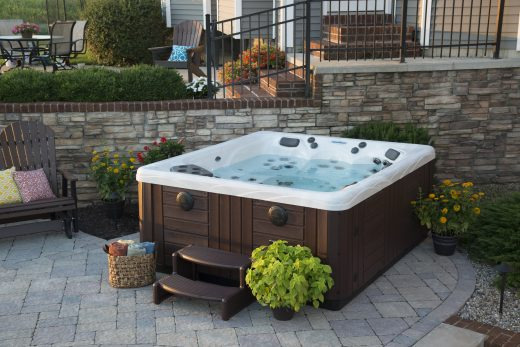hot tub paver patio