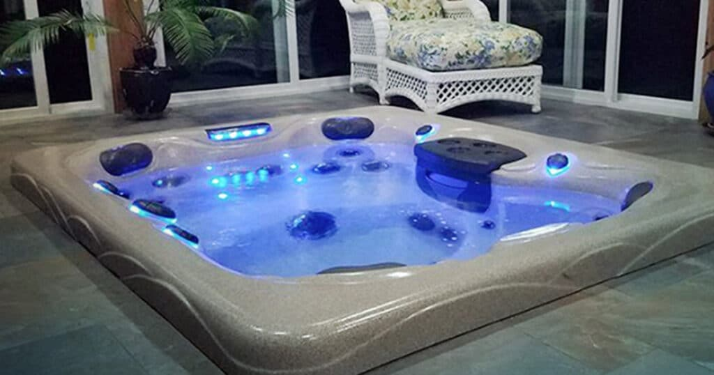 hot tub room with built-in spa