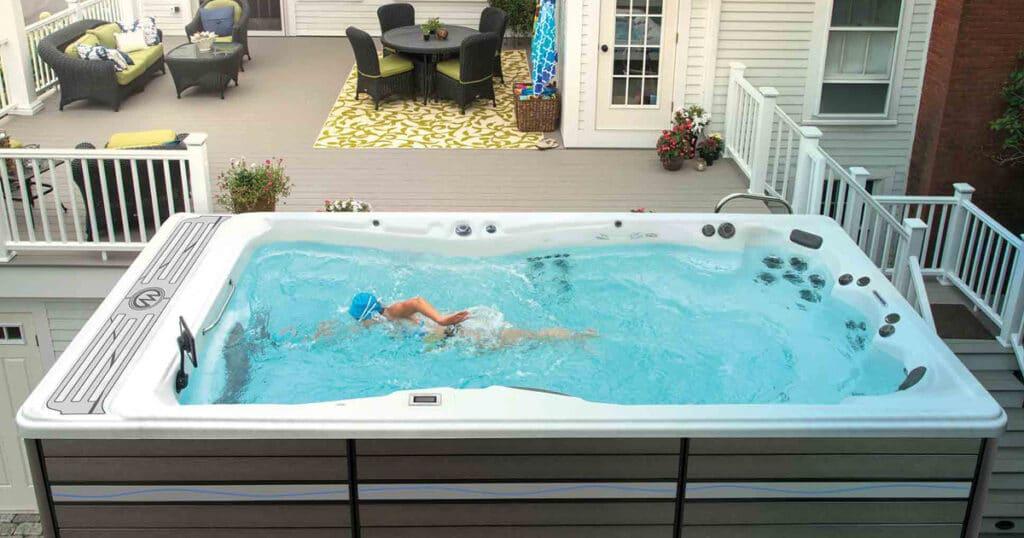 swimming in a swim spa