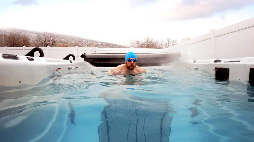 iron cowboy swimming