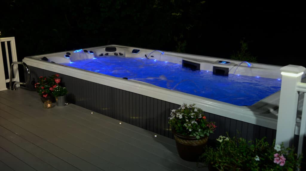 swim spa at night