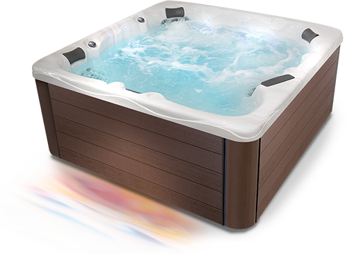 Three quarter view of a clarity series hot tub