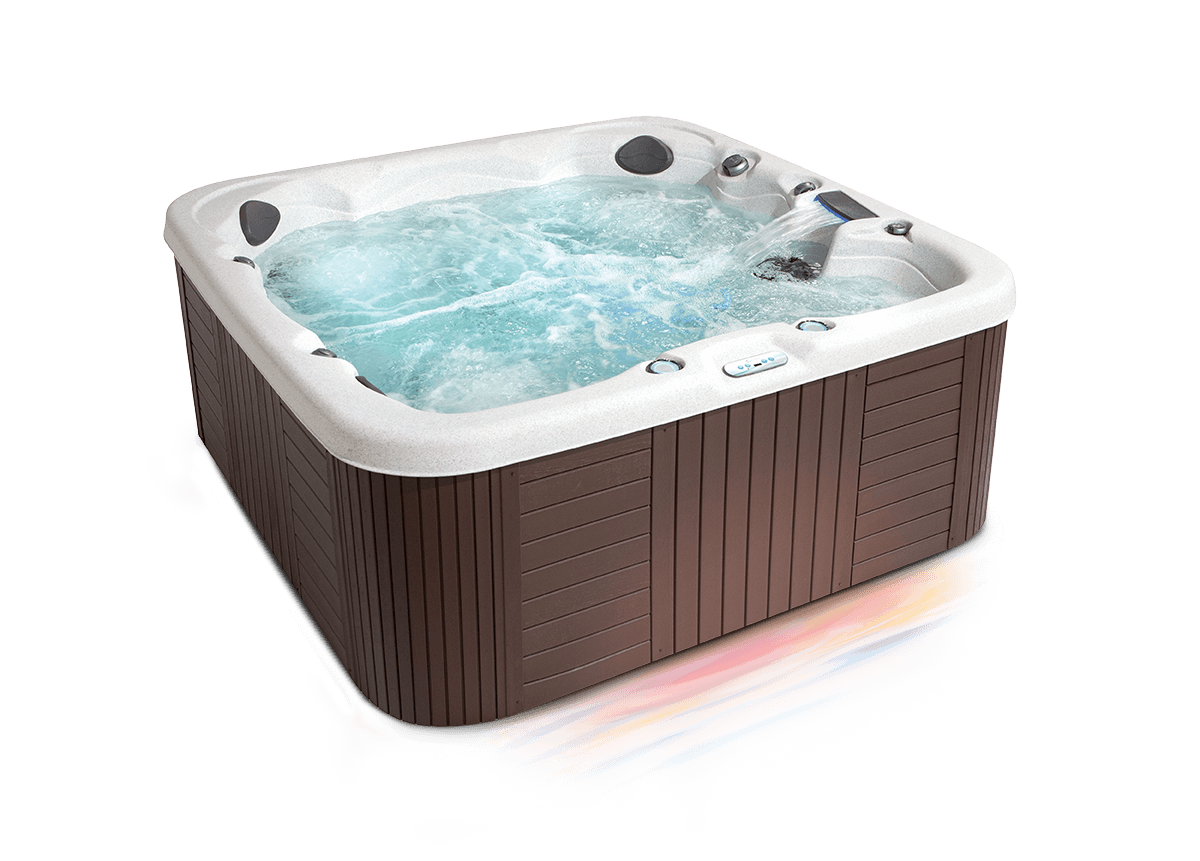 Three quarter view of a getaway hot tub
