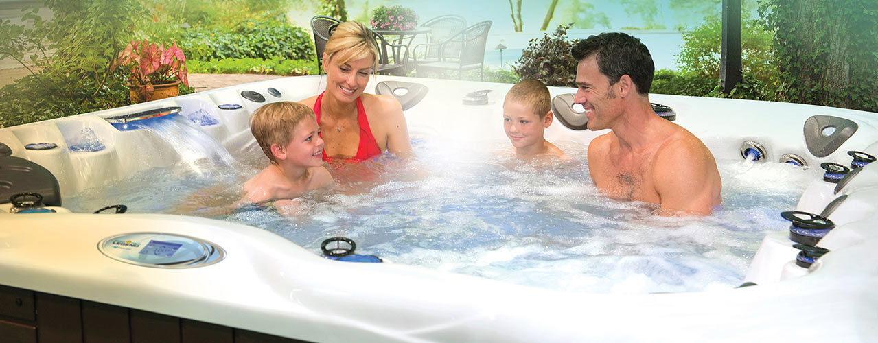 Family fun inside Master Spas hot tubs