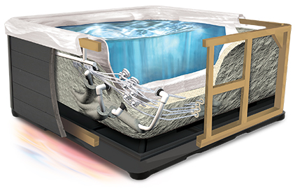Cutaway image of a spa showing icynene foam