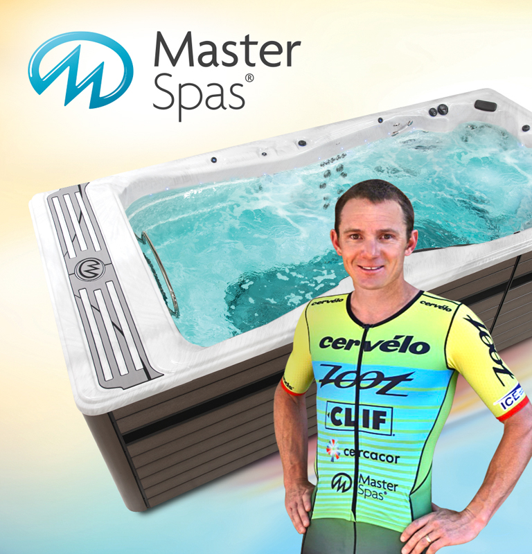 Ben Hoffman, IRONMAN champion, with an h2x swim spa by master spas
