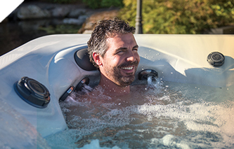 Twilight Series hot tub stress relief neck and shoulder jets in action