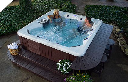 Enjoy your hot tub on a patio to entertain your  guests